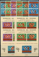 ECUADOR 1966 Olympiade Olympics 1262-67 + Block 26-27 A/B ** MNH