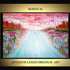 "ORIGINAL LARGE ABSTRACT CONTEMPORARY MODERN ART PAINTING Route 66 36x24"" JLEIGH"