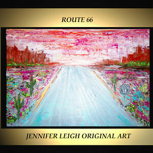 """ORIGINAL LARGE ABSTRACT CONTEMPORARY MODERN ART PAINTING Route 66 36x24"""" JLEIGH"""