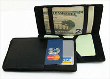 BLACK Real LEATHER MAGIC WALLET Men's Ticket Thin Credit Card Safety Holder NWT