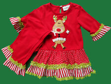 Girls Rare Editions Christmas Holiday Reindeer Party Portrait Dress Outfit 2T