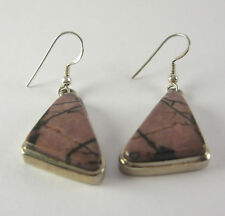 Jasper Dangle Earrings .925 Sterling Silver Rhodonite Mauve Purple Black Jewelry