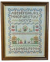 Completed cross stitch embroidery alphabet sampler home decor farm art vtg 13x16