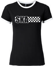 SKA Ringer Girl Shirt schwarz/weiß