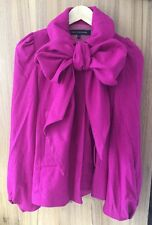 🌺£125 FRENCH CONNECTION Dita Pinup Style Pink Bow Wool Cashmere Mix Coat UK8
