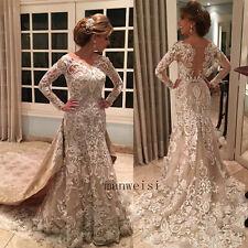 Luxury Bridal Wedding Dresses Mermaid Appliques Beads Gowns Detachable Train New