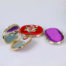 New Double-Sided Makeup Mirror Embroidered Pocket Cosmetic Mirror Random 1PC