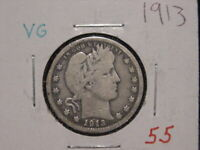 1913 BARBER QUARTER VG NICE BETTER DATE COMBINED SHIPPING