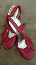 Designer Seychelles ladies red butter soft  leather kitten slingback heels 3 36