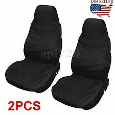 2X Black Universal Waterproof Nylon Front Car Truck Van Seat Covers Protectors