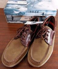 NIB SPERRY 3 Eye BILLFISH Brown/Beige Leather Top-Sider BOAT Shoes Mens 8.5(M)