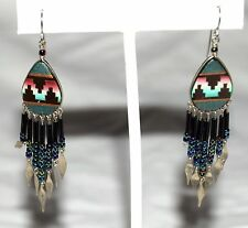Native American Multi Color Gemstones w/ Beads Silver Tip Bottom Drop Earrings