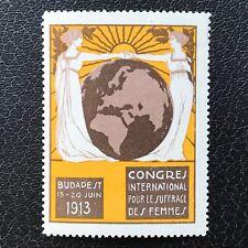 Original 1913 Woman Suffrage Congress - Budapest - Poster Stamp  -  ref272.