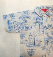 Nautikids Size 4 Vintage Short Sleeve Nautical Art Boat Shirt White Blue Cotton