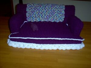 """24"""" Handmade Crochet cat/small dog  couch Purple and white"""