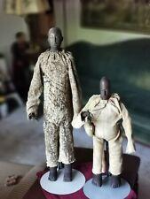 2 large West African wood Côte d'Ivoire Baue Spirit Figures