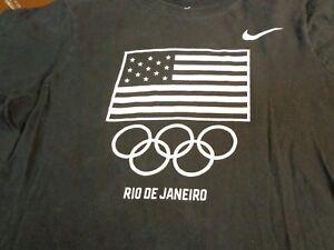 NIKE Olympics Rio De Janeiro  USA Womens Juniors Large  Athletic Cut T Shirt o0