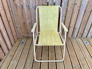 Retro Folding Camping Chair Yellow Leaf Pattern Plastic Festival Camper Vintage