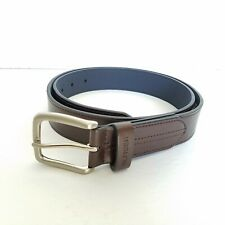 NWT Tommy Hilfiger Men's Brown Leather Belt w/ Brushed Chrome Buckle Size 36