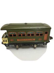 LIONEL 4-WHEEL OLIVE GREEN OBSERVATION CAR #530
