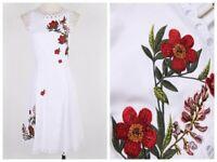 Special Price! AUTH Ted Baker Kristil Kirstenbosch Skater Dress White, 1,3,4