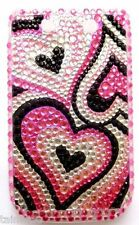 BlackBerry 9800 Pink Hearts Bling Diamante Hard Back Case