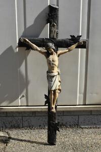 h05x05- Kruzifix, Holz geschnitzt & gefasst, 19.Jh.