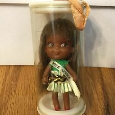 Vintage  Miss Africa Small Rubber Toy Doll Hong Kong Original Case