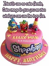 2x LARGE SHOPKINS LOGO EDIBLE BIRTHDAY PARTY ICING CAKE TOPPER NONE PERSONALISED
