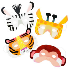 PARTY ANIMALS PAPER MASK - Tiger , Zebra, Giraffe, Monkey -Jungle,Tropic,Go Wild