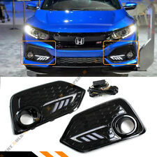 FOR 17-18 HONDA CIVIC Si & FK4 5DR HATCHBACK FOG LIGHT COVER SWITCHBACK LED DRL