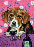 BEAGLE wine  dog art print artist listed animals impressionism 8x10