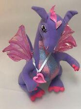 "Barbie Rapunzel Penelope Dragon 15"" Purple Flapping Wings Talking Plush Talks 02"