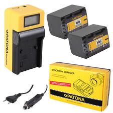 2x Batteria Patona + caricabatteria Synchron LCD USB per Sony HDR-CX550VE