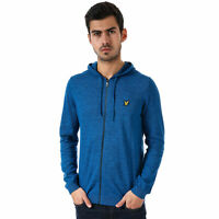 Mens Lyle And Scott Space Dye Zip Through Knitted Hoody In Blue