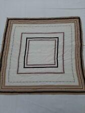 Franco pugi foulard scaf bianco 100% seta silk carré multicolore marrone beige