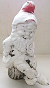 Vintage Cement Concrete Garden Happy Gnome w/ Pipe Sitting on Log Stump Doorstop