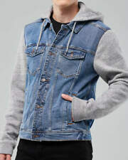 Mens HOLLISTER Grey & Denim Jacket - Hooded - New - L