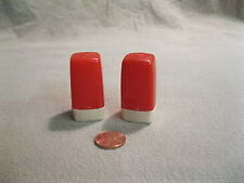 Vintage Red Column Ivory Base Plastic Salt and Pepper Shakers     2