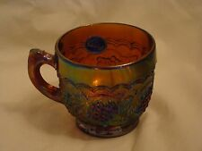 Imperial Iridescent Carnival Glass Deep Amber Grapes Punch Cup with Label