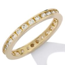 ABSOLUTE 14K YELLOW GOLD ROUND CHANNEL-SET ETERNITY BAND RING SIZE 7 HSN $249.95