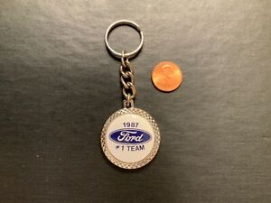 Vintage 1987 FORD Motor Blue Oval KEYCHAIN KEY CHAIN RING FOB New FMC FoMoCo
