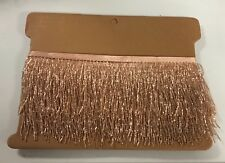"By the yard 4.5/4"" ROSE GOLD Glass BUGLE Bead Beaded Fringe Lamp Costume Trim"