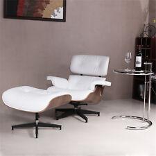 Mid Century 100% Grain Italian Leather Recliner Lounge Chair & Ottoman White-US