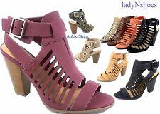 NEW Women's Fashion Open Toe Buckle Chunky High Heels Sandal Shoes Size 6 -11