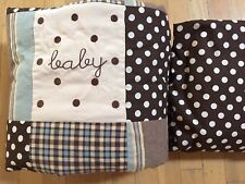 My Baby Sam Mad about Plaid 2 piece Crib Set Boy Brown Dots Quilt & Fitted Sheet