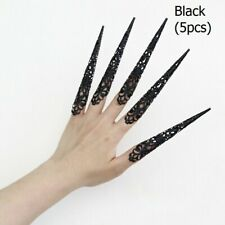 5x Metal Long Nail Rings Fingernails Cosplay Dance Props Chinese Style Retro Kit