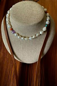 Vintage Japanese Baroque Pearls *  Long Necklace on Leather Sterling Silver $345