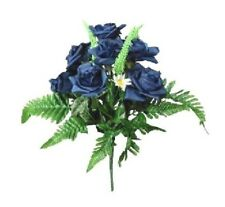 "Navy Blue Rose Bush Spray 16"" Tall Craft Home Silk Flower Arrangement Decor"