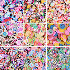 1000pcs 3D Fruit Flowers Feather Sticker Tiny Fimo Slices Polymer DIY Stickers
